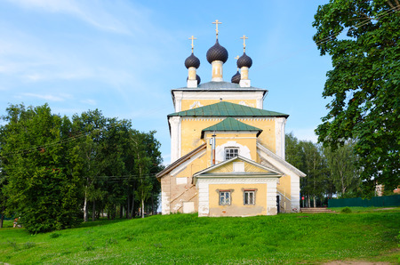 yaroslavl: Church of Holy Martyrs Florus and Laurus, summer landscape, Uglich, Russia Stock Photo