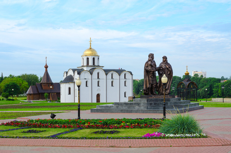 VITEBSK, BELARUS - JULY 13, 2016: Monument to Prince Alexander Nevsky and his wife, Princess Alexandra of Vitebsk, and son of Basil, Annunciation Church and Church of Holy Prince Alexander Nevsky