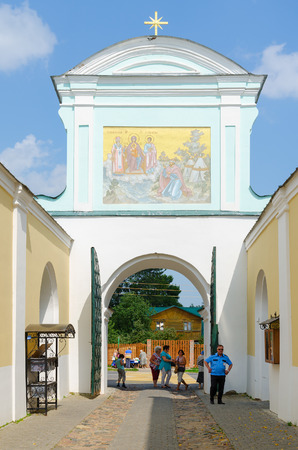 kostroma: KOSTROMA, RUSSIA - JULY 20, 2016: Unidentified people visit Holy Trinity Ipatyevsky male monastery, Kostroma, Golden Ring of Russia Editorial