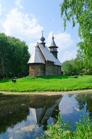 KOSTROMA, RUSSIA - JULY 20, 2016: Kostroma Architectural-Ethnographic and Landscape Museum-Reserve Kostromskaya Sloboda. Church of Savior from village Fominskoe of Kostroma region Editorial
