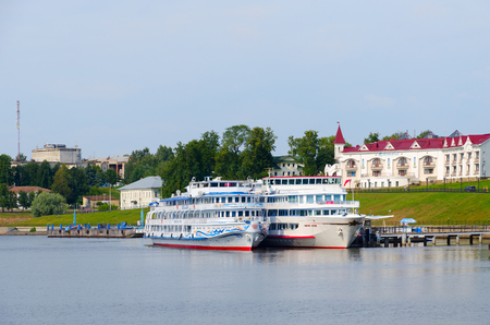 uglich russia: UGLICH, RUSSIA - JULY 19, 2016: Cruise ships Georgy Zhukov, Alexandre Benois on river quay in Uglich, Russia