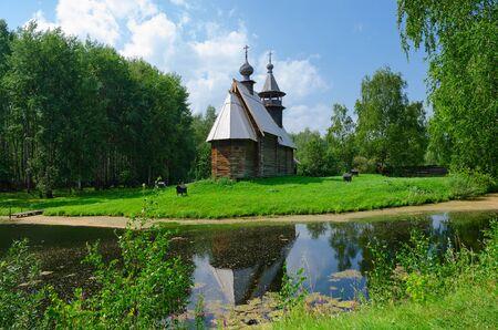 octahedral: KOSTROMA, RUSSIA - JULY 20, 2016: Kostroma Architectural-Ethnographic and Landscape Museum-Reserve Kostromskaya Sloboda. Church of Savior from village Fominskoe Kostroma region Editorial