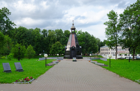 uglich russia: UGLICH, RUSSIA - JULY 19, 2016: Chapel-monument to defenders of Fatherland at all times from grateful uglichan, Uglich, Russia Editorial