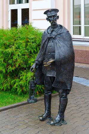 capes: MOGILEV, BELARUS - SEPTEMBER 29, 2016: Sculpture Stationmaster at building of train station, Mogilev, Belarus