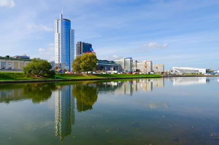 svisloch: MINSK, BELARUS - OCTOBER 1, 2016: View of business-center Royal Plaza, DoubleTree by Hilton Hotel Minsk, Palace of Sports on quay of Svisloch River, Minsk, Belarus