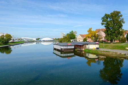 svisloch: MINSK, BELARUS - OCTOBER 1, 2016: View of Trinity Suburb and Svisloch River, Minsk, Belarus Editorial
