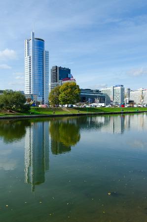 svisloch: MINSK, BELARUS - OCTOBER 1, 2016: Business center Royal Plaza and DoubleTree by Hilton Hotel Minsk on quay of Svisloch River, Minsk, Belarus Editorial