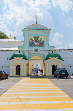 kostroma: KOSTROMA, RUSSIA - JULY 20, 2016: Unknown people are at Northern (Catherines) gates of Holy Trinity Ipatievsky male monastery, Kostroma, Russia