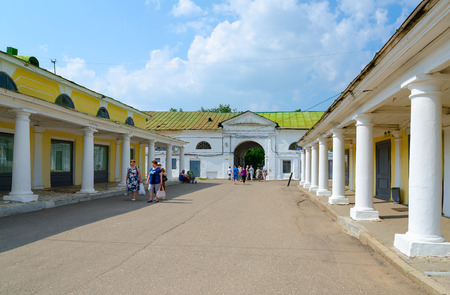 kostroma: KOSTROMA, RUSSIA - JULY 20, 2016: Unknown people visit Kostroma trading arcades (commercial and warehouse complex late XVIII-early XIX centuries, architectural monument), Golden Ring of Russia Editorial
