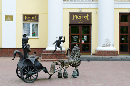city pushkin: GOMEL, BELARUS - MAY 1, 2016: Sculptures of Pinocchio, Malvina and Artemon at Gomel State Puppet Theatre, Gomel, Belarus