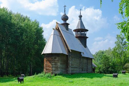 octahedral: KOSTROMA, RUSSIA - JULY 20, 2016: Kostroma Architectural-Ethnographic and Landscape Museum-Reserve Kostromskaya Sloboda. Church of Savior from village Fominskoe