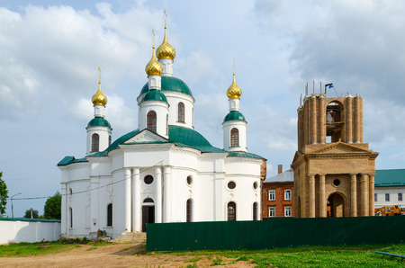 uglich russia: Church of Feodorovskaya Icon of Mother of God and construction of bell tower, Epiphany Monastery, Uglich, Russia