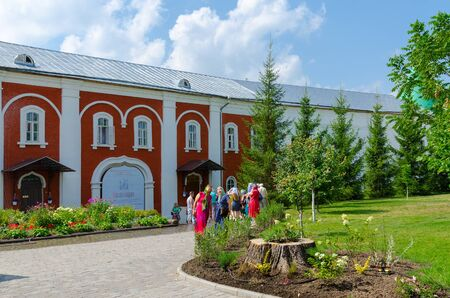 kostroma: KOSTROMA, RUSSIA - JULY 20, 2016: Unidentified tourists visit Holy Trinity Ipatievsky male monastery, Kostroma, Golden Ring of Russia Editorial