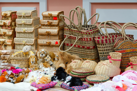 Street trade on Slavonic Bazaar in Vitebsk. Wicker caskets, baskets, stuffed toys