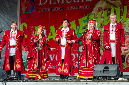 GOMEL, BELARUS - MARCH 12, 2016: Speech by creative choral collective. Concert was conducted in open air with open free access for all comers during mass Shrovetide celebrations