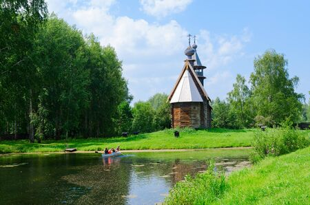 KOSTROMA, RUSSIA - JULY 20, 2016: Kostroma Architectural-Ethnographic and Landscape Museum-Reserve Kostromskaya Sloboda. Church of All-Merciful Savior from village of Fominskoye of Kostroma District
