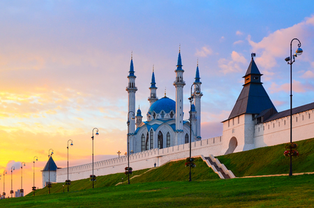 tatarstan: Kul-Sharif Mosque, Kazan Kremlin at sunset, Russia Stock Photo