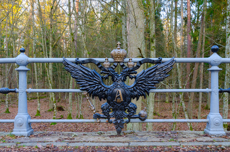 Bridges of royal road, Belovezhskaya Pushcha, Belarus. Main attraction of famous tract. Preserved from time of Alexander III. Decorated with two-headed eagles, which were destroyed in 20s of 20 century and are again restored in our days