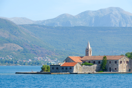 Otok Island (Gospa od Milo) with monastery of Jesuit Order and Church of Blessed Virgin Mary, Tivat Bay, Montenegro Imagens