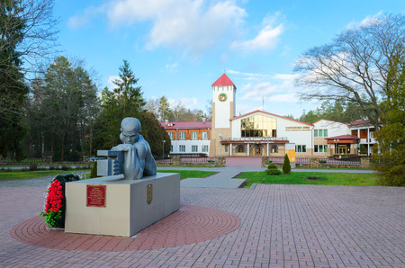 KAMENYUKI, BELARUS - DECEMBER 5, 2015: Monument to dead soldiers-gunners in front of restaurant Bialowieza Forest, Kamenets district, Brest region, Belarus