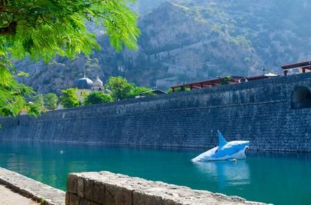 impregnable: Beautiful view of fortress wall at river Shkurda, Old town, Kotor, Montenegro