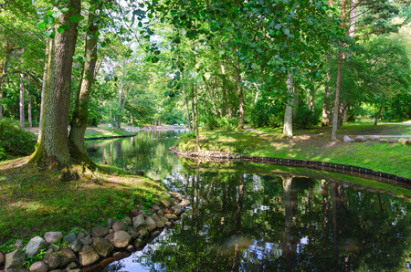 Beautiful summer view of pond in Palanga Botanical Park, Lithuania Stock Photo