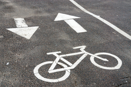 specifies: Road marking Bike path on gray asphalt in city