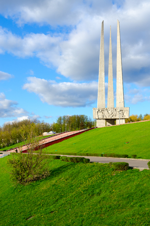 VITEBSK, BELARUS - MAY 16, 2017: Memorial complex in honor of Soviet soldiers-liberators, partisans and underground workers (Three bayonets), beautiful view from embankment of Zapadnaya Dvina river
