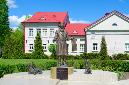 VITEBSK, BELARUS - MAY 25, 2017: Monument to veterinarian on territory of Vitebsk State Academy of Veterinary Medicine, Belarus