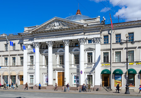 SAINT PETERSBURG, RUSSIA - MAY 3, 2017: Unknown people walk along Nevsky Prospekt near House of Dutch Reformed Church, St. Petersburg, Russia Editorial