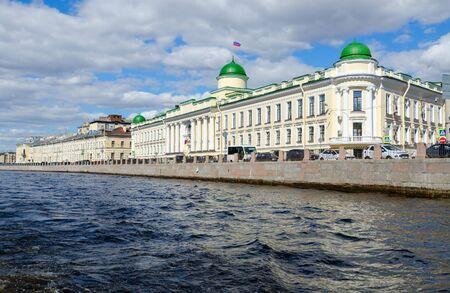 SAINT PETERSBURG, RUSSIA - MAY 3, 2017: Building of Leningrad Regional Court on Fontanka River embankment, St. Petersburg, Russia