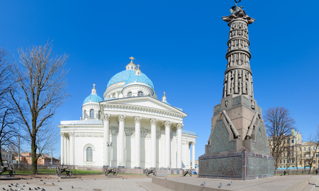 SAINT PETERSBURG, RUSSIA - MAY 2, 2017: Cathedral of Holy Life-Giving Trinity of Life Guards Izmailovsky Regiment (Trinity-Izmaylovsky Cathedral, Trinity Cathedral) and Column of Glory, St. Petersburg