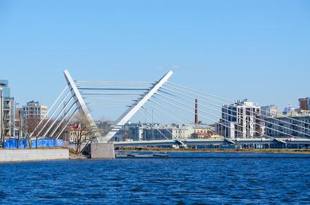 SAINT PETERSBURG, RUSSIA - MAY 2, 2017: Lazarevsky cable-stayed bridge across Malaya Nevka River, St. Petersburg, Russia