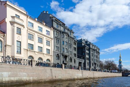 SAINT PETERSBURG, RUSSIA - MAY 3, 2017: Profitable house of R.G. Vege on quay of Kryukov Canal, St. Petersburg, Russia