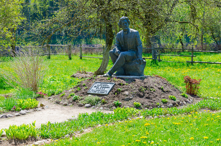 ZDRAVNEVO, BELARUS - MAY 18, 2017: Monument to I.Y. Repin on territory of museum-estate Zdravnevo, Vitebsk region, Belarus