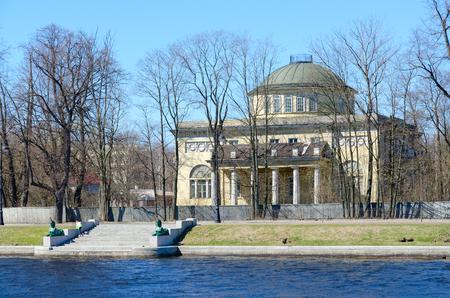 Dacha of Prince of Oldenburg (built in 1831-1833) on Kamenny Island, embankment of Malaya Nevka River, St. Petersburg, Russia