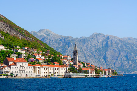 Beautiful view from sea to popular resort town of Perast, Kotor Bay, Montenegro Banco de Imagens