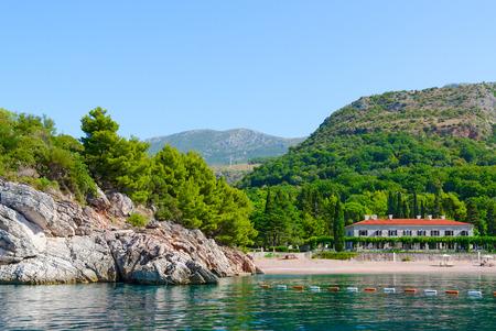prestigious: Beautiful view from sea to famous Royal Beach, Milocer, Montenegro