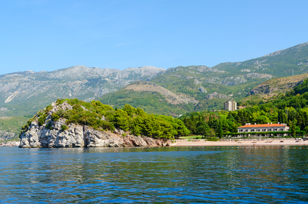 Beautiful view from sea to famous Royal Beach on sunny September day, Milocer, Montenegro
