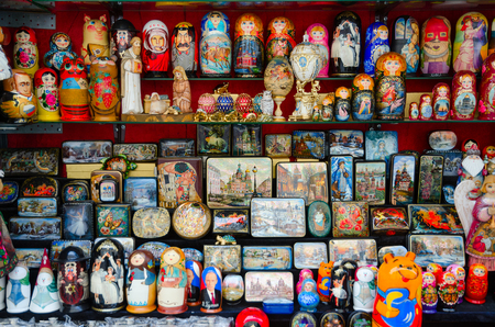 SAINT PETERSBURG, RUSSIA - MAY 1, 2017: Souvenirs for sale on street, St. Petersburg, Russia