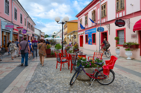 SHKODER, ALBANIA - SEPTEMBER 6, 2017: Unknown tourists walk along pedestrian street (Rruga Kole Idromeno), Shkoder, Albania
