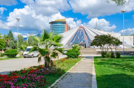 TIRANA, ALBANIA - SEPTEMBER 6, 2017:  Building Pyramid (former museum of communist dictator Enver Hoxha) on Boulevard of Martyrs (Bulevardi Deshmoret e Kombit), Tirana, Albania