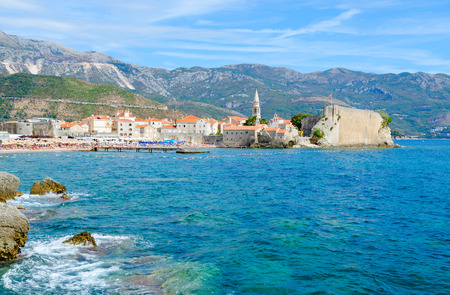 Beautiful view of Old Town on background of mountains, Budva, Montenegro