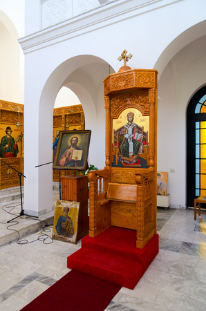 SHKODER, ALBANIA - SEPTEMBER 6, 2017: Interior of Orthodox Church (Church of Nativity of Christ), Shkoder, Albania