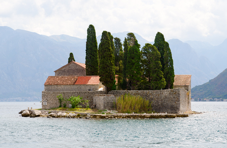 Beautiful view of St. George Island (Island of Dead) in Bay of Kotor, Montenegro