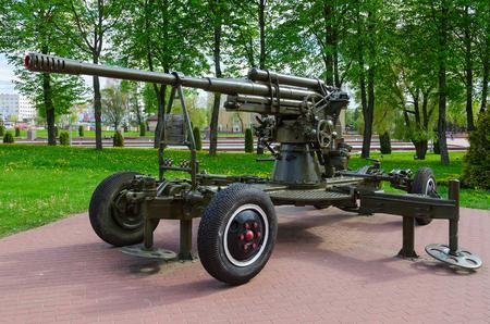 VITEBSK, BELARUS - MAY 22, 2017: 85-mm antiaircraft gun of 1939 model on Alley of military glory in park of Winners, Vitebsk, Belarus