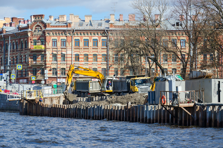 SAINT PETERSBURG, RUSSIA - MAY 3, 2017: Reconstruction of Fontanka River embankment, St. Petersburg, Russia
