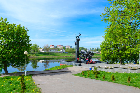 POLOTSK, BELARUS - MAY 19, 2017: Monument to 23rd Guardsmen on bank of Western Dvina River, Nizhne-Pokrovskaya Street, Polotsk, Belarus Editorial