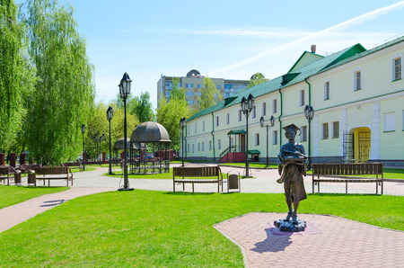 collegium: POLOTSK, BELARUS - MAY 19, 2017: Complex of buildings of former Jesuit collegium (now - Polotsk State University), monument to Polotsk student, Belarus