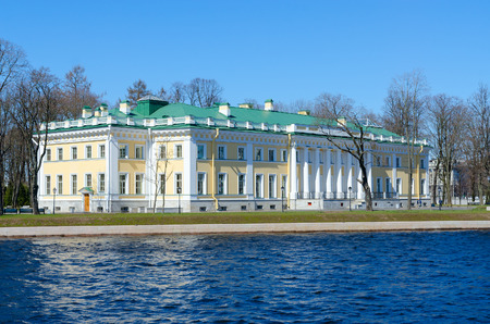 View from Malaya Nevka River to Kamennoostrovsky Palace, St. Petersburg, Russia Editorial